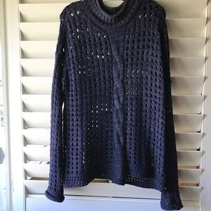 FREE PEOPLE long knit navy sweater